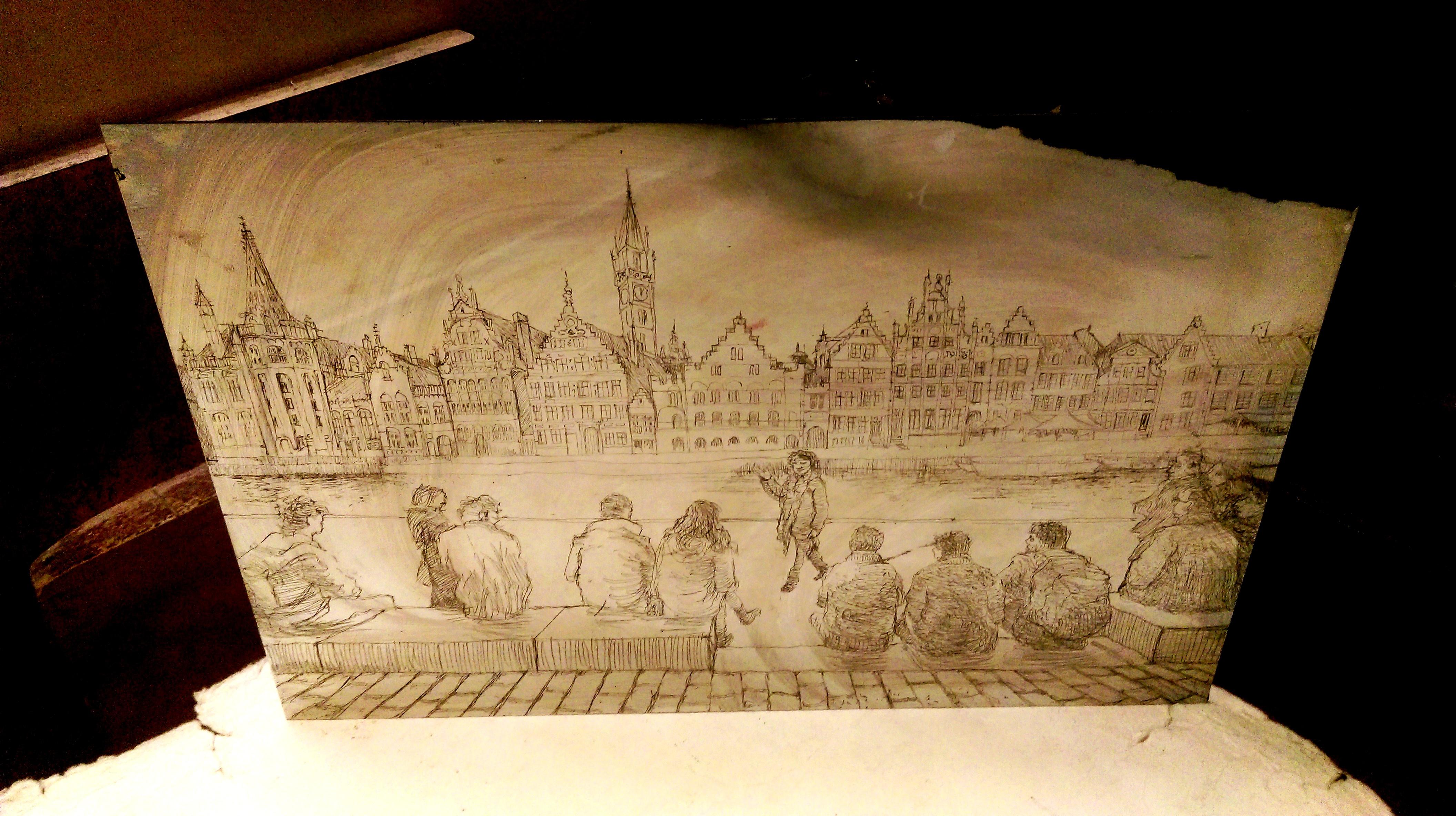 gravure vue sur Gand quai aux herbes